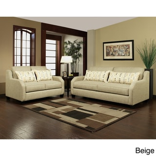 Furniture of America Shapellen Chenille Sofa Loveseat Set