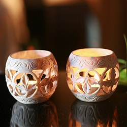 Set of 2 Soapstone 'Fig Leaf' Candleholders (India)