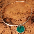 Silver 'Magic Circle' Chrysocolla Necklace (Peru)