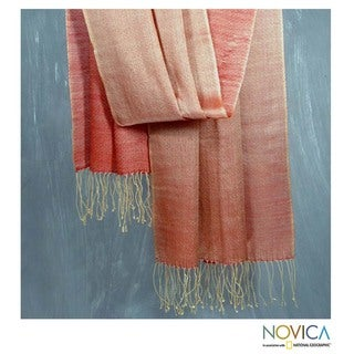 Handcrafted Wool and Silk 'Gold Dust' Shawl (India)