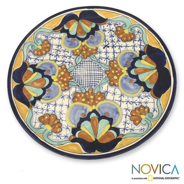Ceramic 'Blue Poppies' Serving Plate (Mexico)