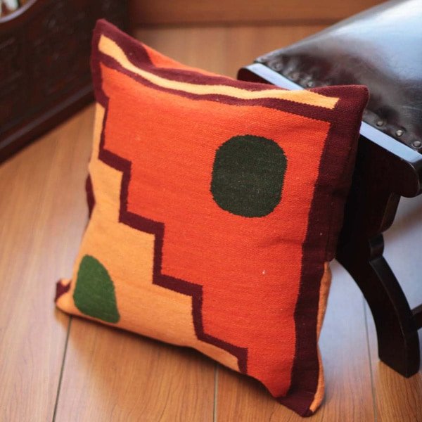 Handcrafted Wool 'Sun and Moon' Cushion Cover (Peru) 10319072