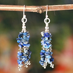 Sterling Silver 'Rejoice' Lapis Lazuli Waterfall Earrings (India)
