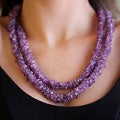 Handcrafted Amethyst 'Lovely Lilacs' Beaded Necklace (47 in) (India)