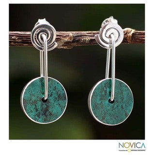 Sterling Silver 'Magic Circle' Chrysocolla Earrings (Peru)