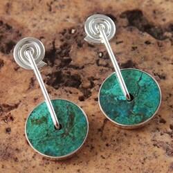 Sterling Silver 'Magic Circle' Chrysocolla Earrings (Peru)