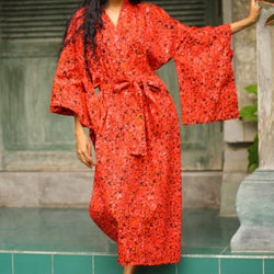 Red Floral Kimono Hand Crafted Full Lenth Year Round Elegant Easy Care Self Tie 100% Cotton Womens Robe (Indonesia)