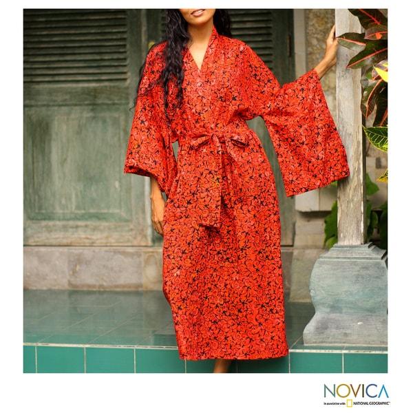 Cotton 'Red Floral Kimono' Batik Robe (Indonesia)