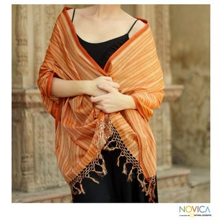 Handcrafted Cotton and Silk 'India Sunset' Shawl (India)
