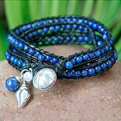 Phuket Sea Blue Lapis Lazuli Beads with Black Leather and 925 Sterling Silver Hill Tribe Charms Womens Wrap Bracelet (Thailand)