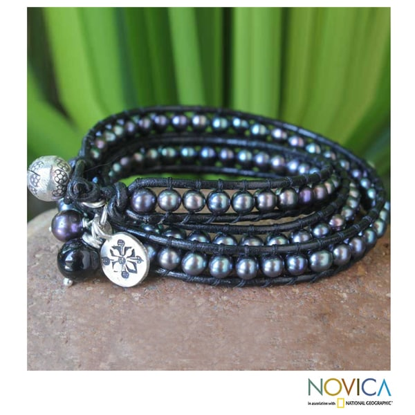 Silver 'New Midnight Tribal' Pearl Bracelet (6-7 mm) (Thailand)