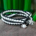 Silver 'Chiang Rai Clouds' Cultured Pearl Bracelet (6-7 mm) (Thailand)