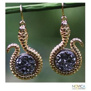 Gold Overlay 'Silvery Serpent' Drusy Agate Earrings (Brazil)