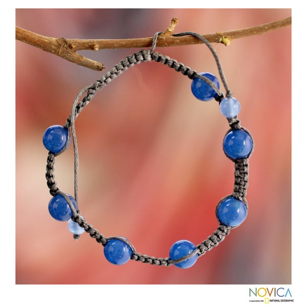Handcrafted Blue Chalcedony 'Blissful Harmony' Bracelet (India)
