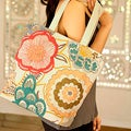 Beaded Cotton 'Festival of Flowers' Large Tote Handbag (India)