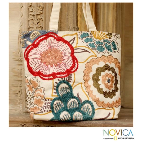 Beaded Cotton 'Festival of Flowers' Large Tote Handbag (India)