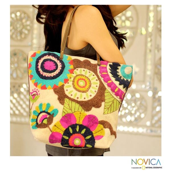 Cotton 'Dayal Bagh Flowers' Large Tote Handbag (India)
