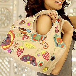 Cotton 'Patna Partridge' Medium Hobo Handbag (India)