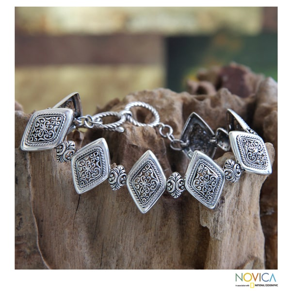 Sterling Silver 'Ubud Rice Field' Bracelet (Indonesia)