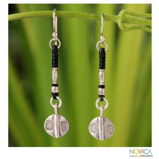 Handcrafted Silver 'Tribal Art' Earrings (Thailand)