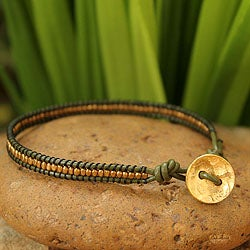 Handcrafted Gold Overlay 'Golden Olive' Leather Bracelet (Thailand)