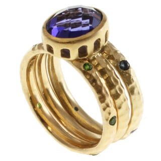 Michael Valitutti Gold over Silver Multi-gemstone Ring Set