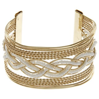 LucyNatalie Goldtone White Bead Braided Wire Cuff Bracelet