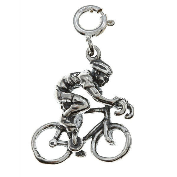 Sterling Silver Bicyclist Charm