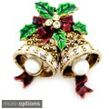 Goldtone or Black Crystal Christmas Bell and Bow Brooch