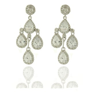 Dolce Giavonna Silvertone Clear Cubic Zirconia Chandelier Earrings