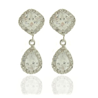 Dolce Giavonna Silvertone White Cubic Zirconia Teardrop Dangle Earrings