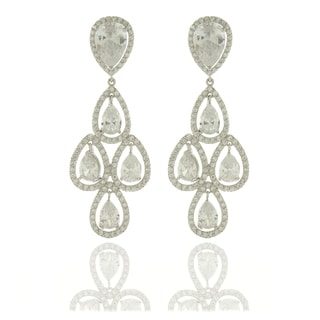 Dolce Giavonna Silvertone White Cubic Zirconia Chandelier Earrings