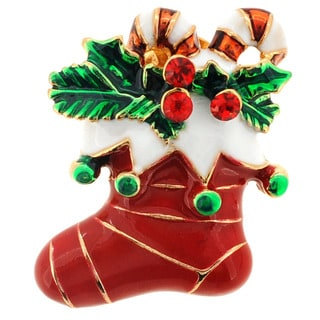 Goldtone Crystal Christmas Stocking Brooch