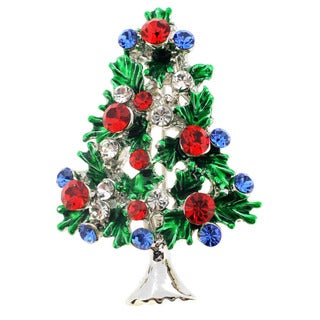 Silvertone Multi-colored Crystal Christmas Tree Brooch