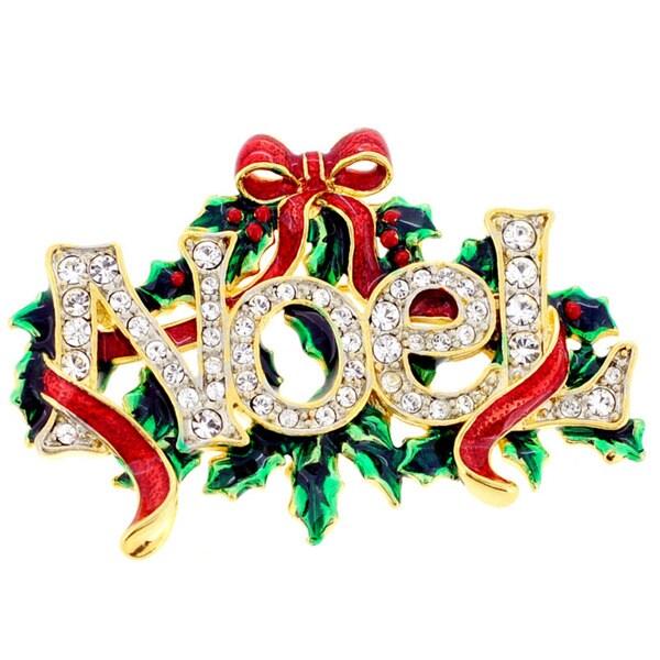 Goldtone Crystal 'Noel' Wreath and Bow Brooch