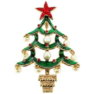 Goldtone Faux Pearl and Crystal Christmas Tree Brooch