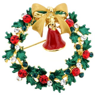 Goldtone Crystal Christmas Bell and Wreath Brooch