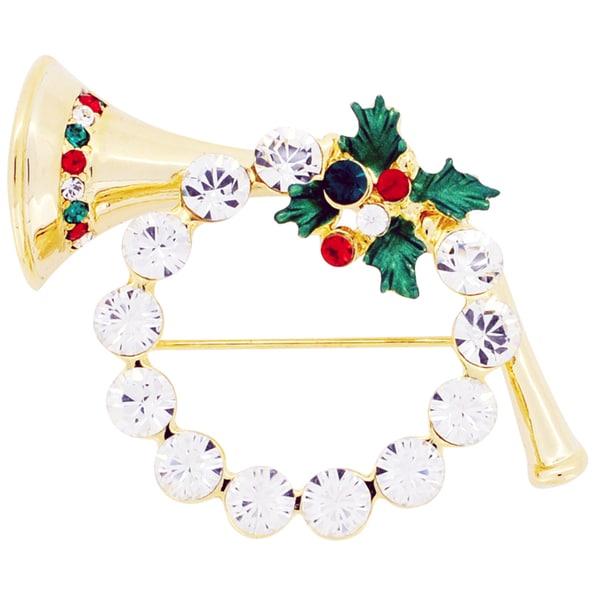 Goldtone Crystal Christmas Wreath, Horn and Mistletoe Brooch