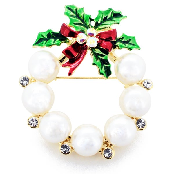 Pearl Christmas Wreath Crystal Pin Brooch
