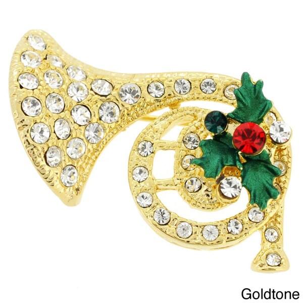 Goldtone Multi-colored Crystal Horn and Mistletoe Brooch