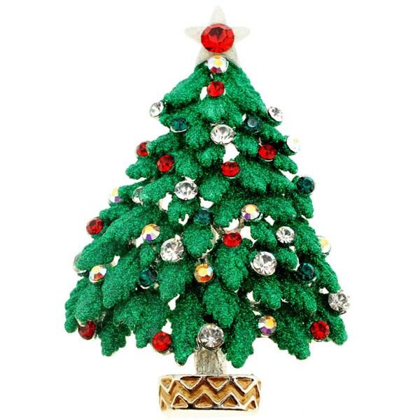 Two-tone Crystal Christmas Tree Brooch