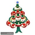 Gold-Tone Metal/Crystal Christmas Tree Brooch