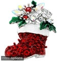 Silvertone or Goldtone Crystal Christmas Boot Brooch