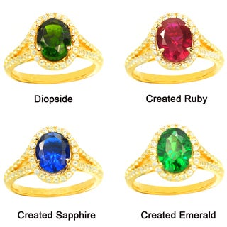 De Buman Gold over Sterling Silver Gemstone and CZ Ring