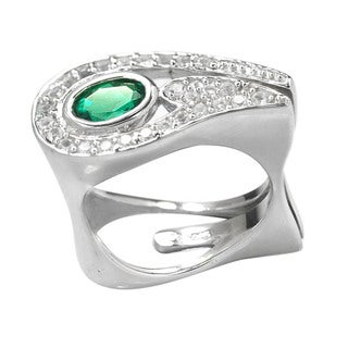 De Buman Sterling Silver Created Emerald and White Topaz RIng