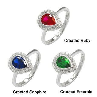 De Buman Sterling Silver Created Gemstone with Cubic Zirconia Ring