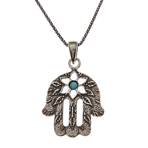 Beverly Hills Charm Silver Turquoise 'Hamsa' Evil Eye Necklace