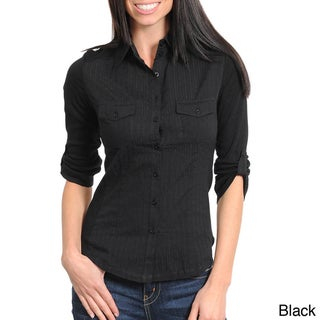 Stanzino Women's Button Down Top with Roll-up Sleeves