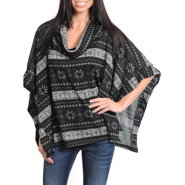 Stanzino Women's Cowl Neck Poncho Sweater