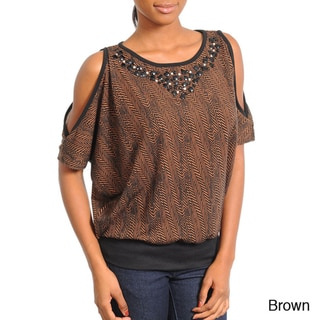 Stanzino Women's Embellished Neckline Top with Cut-out Shoulders